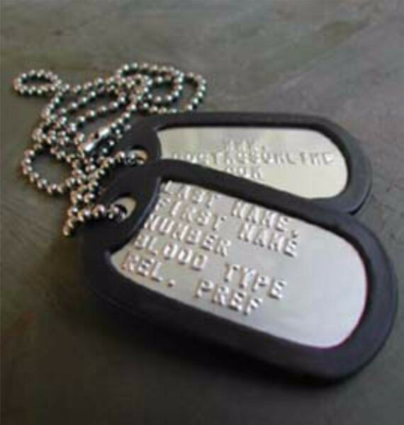 2 Military Dog Tags Custom Embossed Stainless GI Identification w Silencers $6.00
