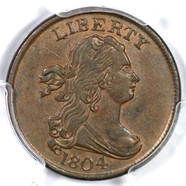 1804 C-1 R-3 PCGS AU 55 Crosslet 4 Stems Draped Bust Half Cent Coin 12c