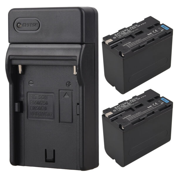 2x 7800mah NP-F970 Backup Battery + Charger For Sony NP-F960 NP-F970 Digital Cam