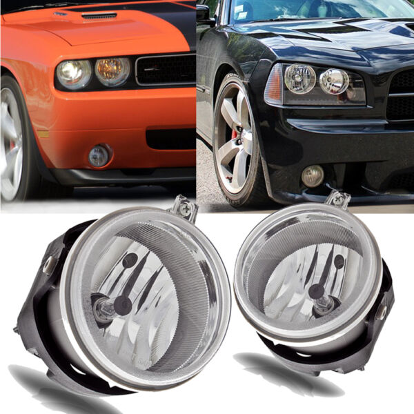 for 06-09 Dodge Charger08-10 Challenger Clear Bumper Fog Light Lamps+Bulbs PAIR