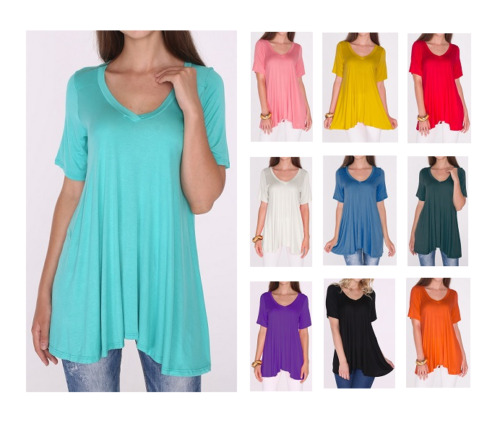 Women's A-Line V-Neck Loose Short Sleeve Tunic Top T-Shirt Blouse SML/Plus Size