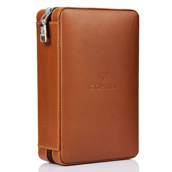 COHIBA Brown Leather Cedar Cigar Case Humidor W/ Cutter Lighter Set 4 Count