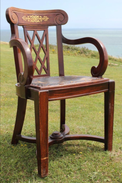 ROYAL MAIL LINE RMS AUSTRIAS 1ST CL DINNING SALOON CHAIR OCEAN LINER C-1925