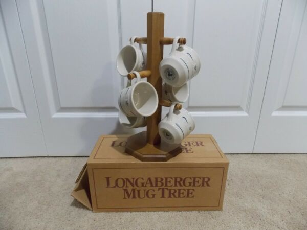 ** LONGABERGER ** WoodCrafts (MUG TREE) + Classic Blue Pottery (6 COFFEE CUPS)