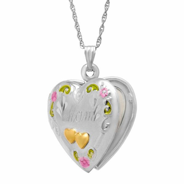 Double Heart #x27;Mom#x27; Locket in Sterling Silver and 14K Gold