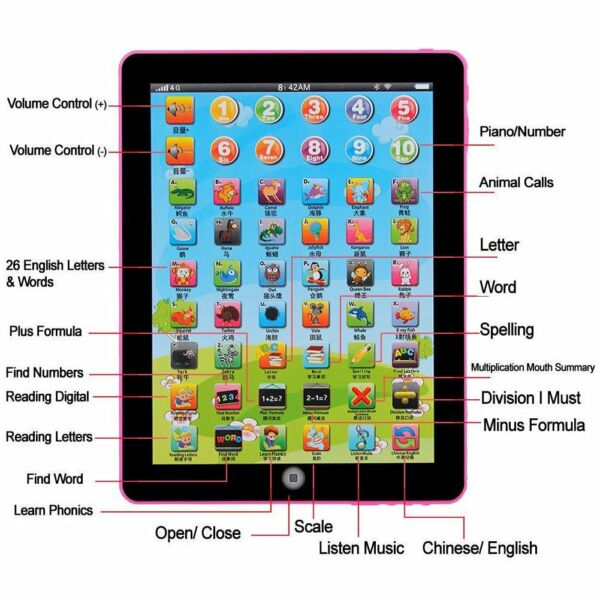 USA Tablet Pad Computer For Kid Children Learning English Educational Teach Toy