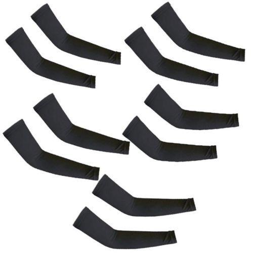 5 Pairs Black Cooling Arm Sleeves Cover UV Sun Protection Basketball Sport