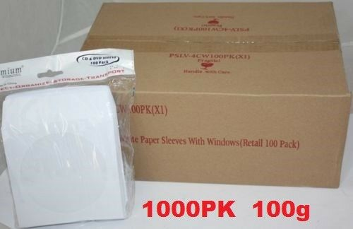 1000 pcs White CD DVD Paper Sleeves Envelopes with Flap and Clear Window 100g