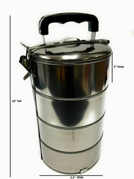 4 Layers Stainless Steel Hot Food Container Lunch Box Carrier $19.99