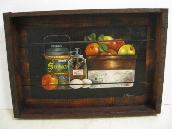 Still life Crate Painting signed Giannini Fruits Crock Apple Butter churn Jar