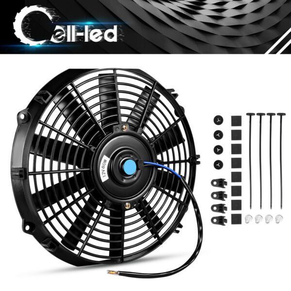 Slim 12inch Push Pull Electric Radiator Cooling Fan Truck 2150cfm Universal 12V