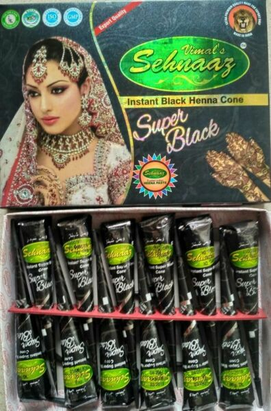 Sehnaaz Super Black Henna Temporary Tattoo Herbal Cones Kit Body Art Ink DIY
