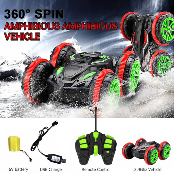 Turbo 2.4G Speed Remote Control Amphibious Stunt Car 360 Spin Race Toy Car Gifts