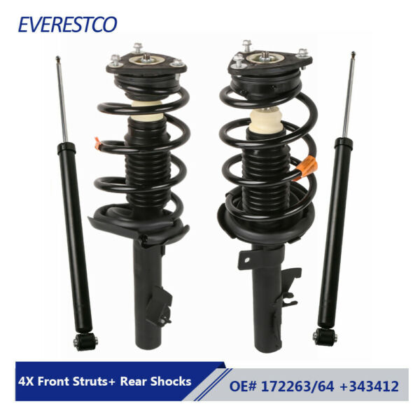 Set(4) Complete Front Struts + Rear Shocks Absorbers Assemby For Mazda 3 Mazda 5