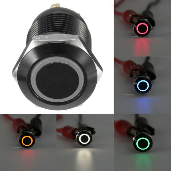 Black 12V 4 Pin 12mm Led Light Metal Push Button Momentary Switch Waterproof
