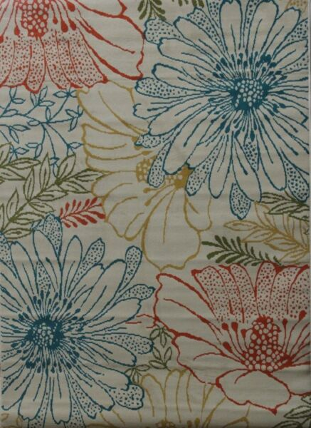 Al Fresco Daisies Beige 5X8 Dress up your deck or patio with this outdoor rug $89.99