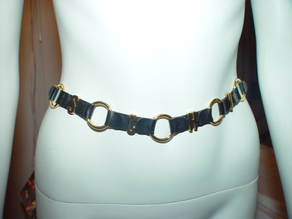 MOSCHINO BELT Women Black Gold Letter Leather Belt Redwall Made in Italy $95.00