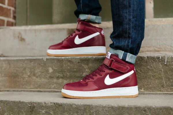 Mens Nike Air Force 1 Mid Sneakers New, Burgandy / Team Red 315123-608
