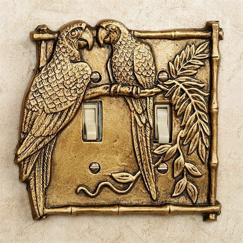 Parrot Double Light Switch Cover Gold Tropical Birds Home Decor
