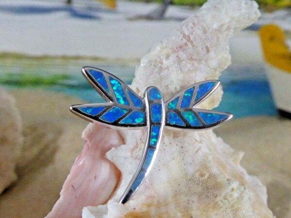 BEAUTIFUL HIGH POLISHED STERLING SILVER BLUE FIRE OPAL DRAGONFLY SLIDE PENDANT