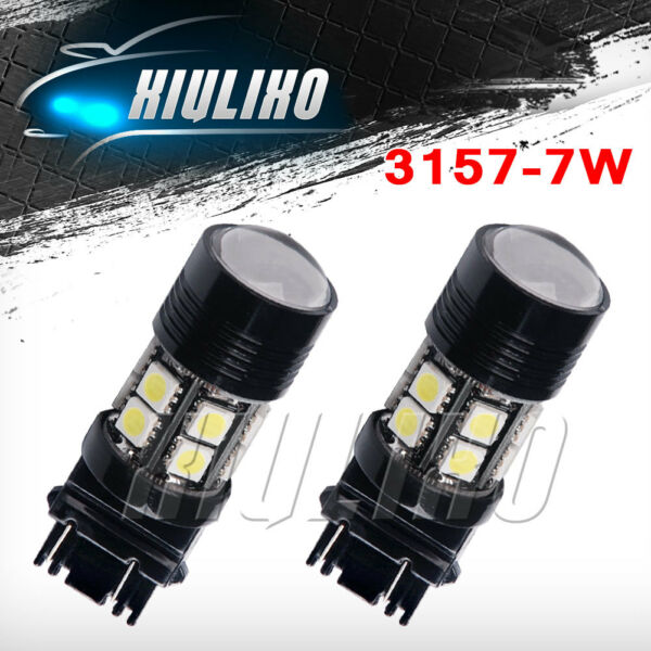 2x White 3157 3156 12SMD 7W Projector Turn Signal Backup Reverse LED Lights 12V