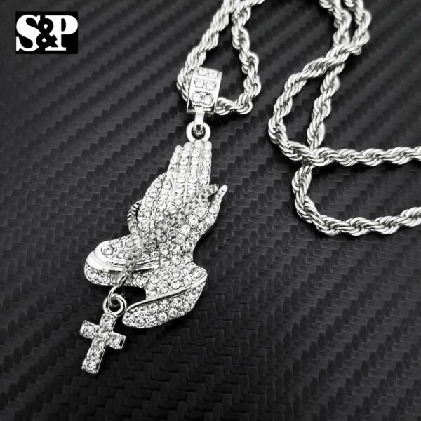 HIP HOP SILVER TONE ICED OUT PRAYER'S HANDS CZ PENDANT & 24