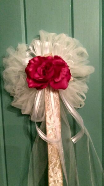 BURLAP 6 PC RED amp; IVORY WEDDING PEW BOWS WITH BURLAP amp; LACE RUSH ORDERS