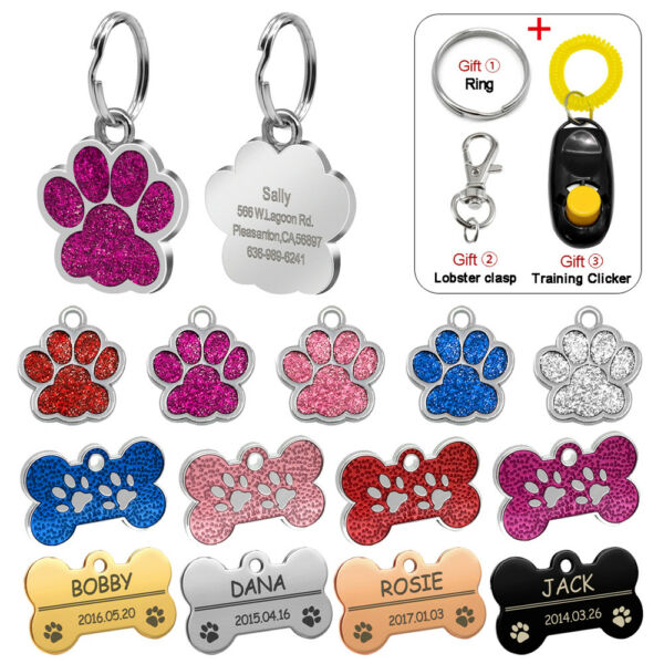 Personalized Dog Tags Engraved Cat Puppy Pet ID Name Collar Tag Bone Paw Glitter $4.99