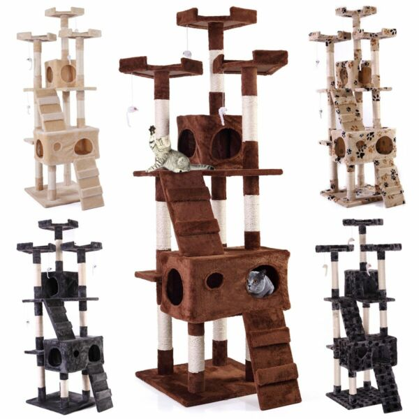 67quot; Cat Tree Condo Tower Pet Kitty Play Climbing Furniture w Scratching Post