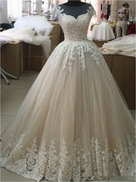 Rustic Vintage Bridal Wedding Dress with Cap Sleeves Custom Size 4 6 8 10 12 14