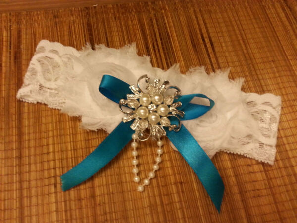 Wedding garter Vintage Garter Bridal Garter White Ivory something blue garter