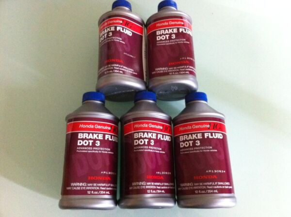 HONDA GENUINE DOT 3 BRAKE FLUID 5 BOTTLES 12 OZ NEW CIVIC ACCORD FIT CRV ODYSSEY