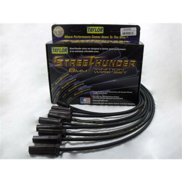 Taylor Spark Plug Wire Set 51076; Street Thunder 8mm Black for DodgeJeep V8
