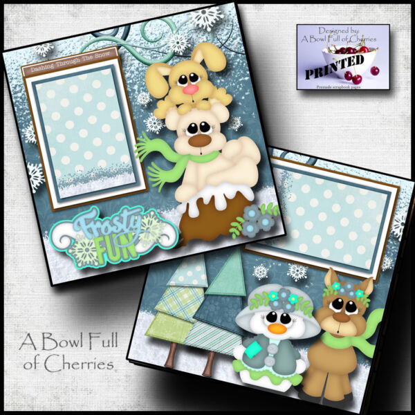 FROSTY FUN WINTER SNOW 2 Premade Scrapbooking Pages paper printed BY CHERRY