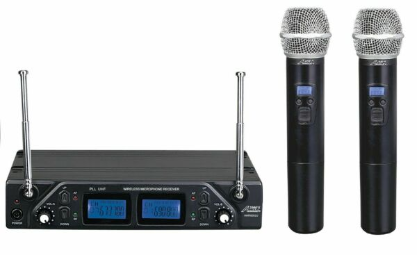 Audio2000s Professional Dual-Channel UHF Wireless w 100 Adjustable Frequencies