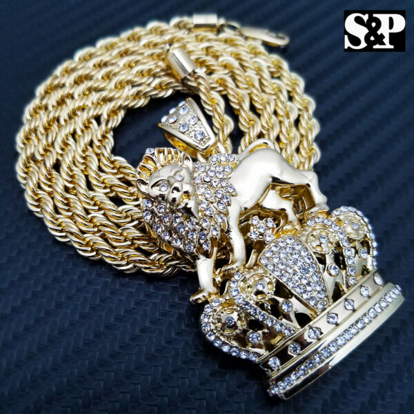 FULL ICED HIP HOP RAPPER#x27;S LION KING CROWN FASHION PENDANT amp; 5mm 30quot; ROPE CHAIN $16.14