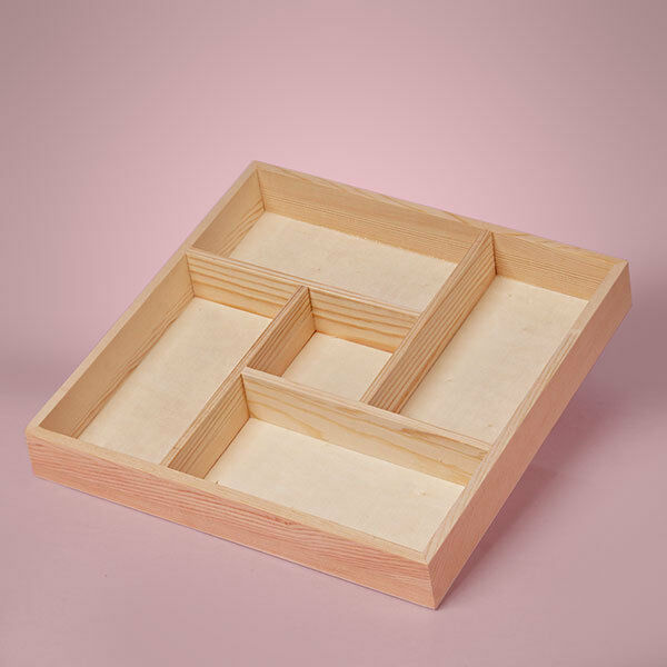 NEW MEDIUM 5 SECTION DIVIDED WOOD TRAY SHADOW BOX UNFINISHED PINE WOOD 10x10x1.5