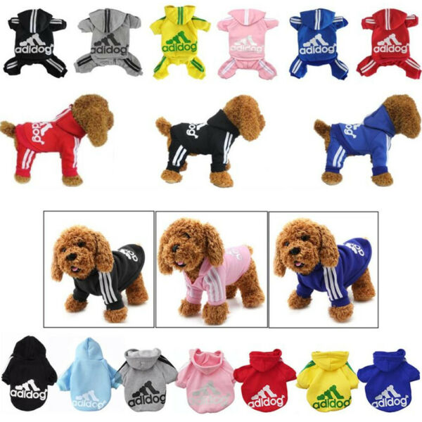 New Warm Adidog Puppy Dog Hoodies Pet Cats Coat Winter Clothes Apparel Jumpsuit