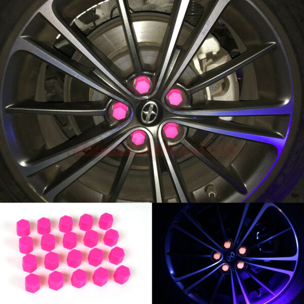 21mm Car Accessories Exterior Wheel Rim Lug Nut Covers Glow in the Dark PINK