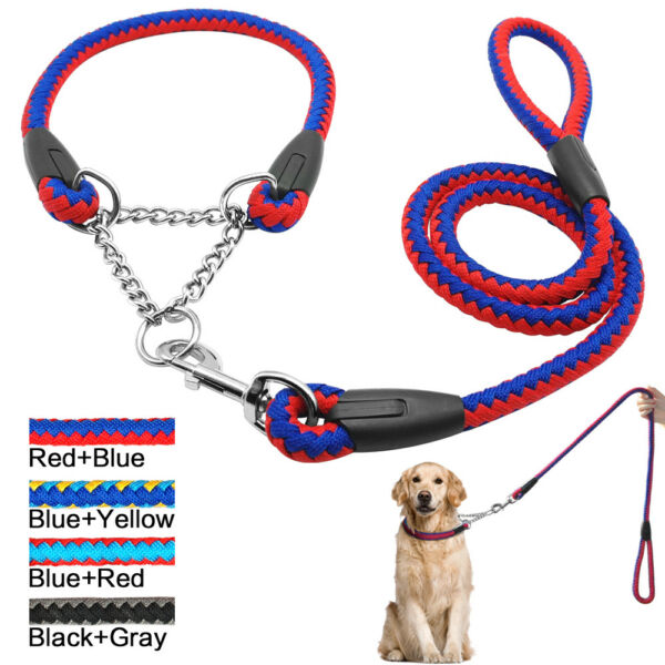 Martingale Large Dog Choke Collar and Leash Braided Rope Heavy Duty for Training $21.99