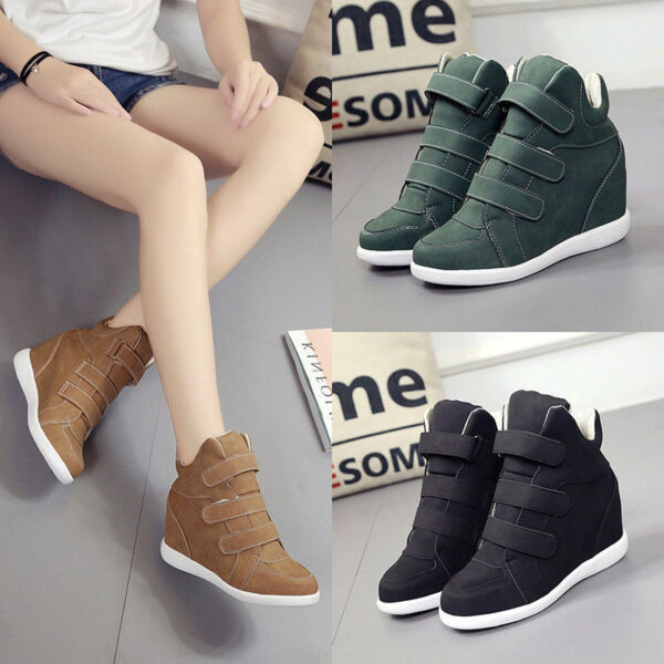 New Womens High Top Hidden Wedge Heel Sneakers Increased Casual Ankle Shoes