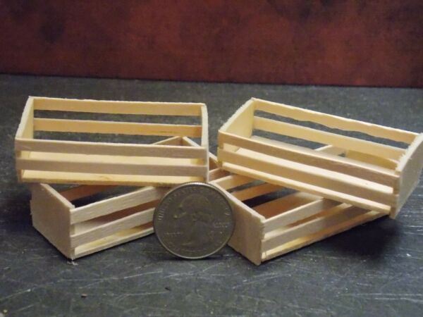 Dollhouse Miniature Wood Unfinished Crate Set of 4 1:12 Scale Dollys Gallery D26