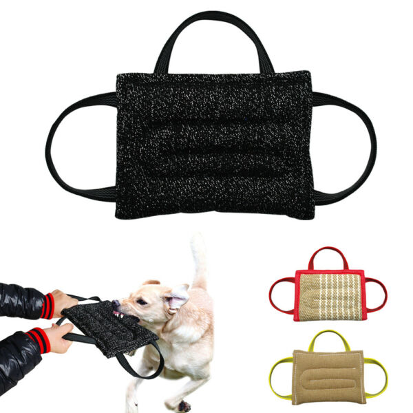 Dog Bite Pillow Jute Training Tug Builder Toy With 3 Handle for Young Police Dog