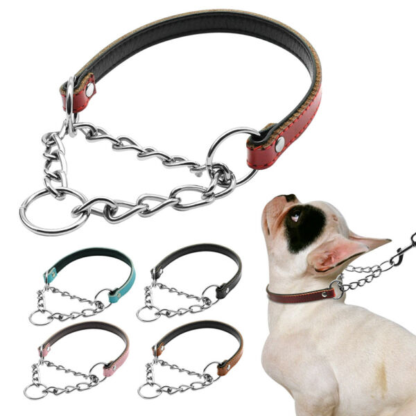 Leather Martingale Collars for Dogs Medium Large Pet Training Chain Collar S M L $4.99