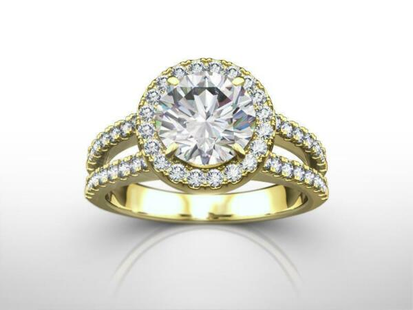 DS-R-48-108 1.25 CT D SI1 ROUND DIAMOND HALO SPLIT SHANK 14 K YELLOW GOLD RING