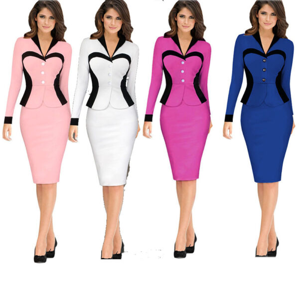 US STOCK Sexy Women Wear to Work Office Casual Career Sheath Pencil Dress midi
