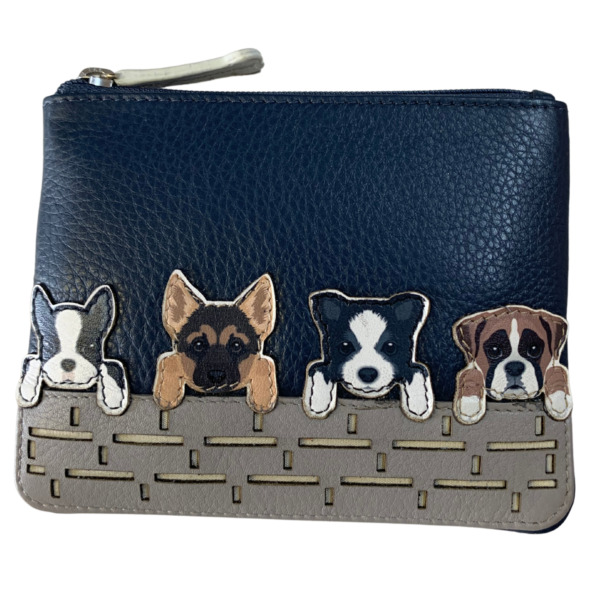 Luxury DOGS coin purse by Mala Leather huskie dalmation sheep dog 4156 65 navy GBP 13.99