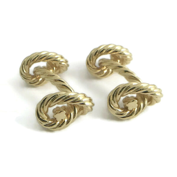 Men's Twisted Love Knot Cufflinks in 18K Yellow Gold 16.49 Grams