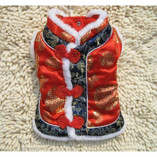 New Warm Winter Pet Dog Cat Red Chinese Tang Dress Coat Dog Clothing Red XS L $8.99