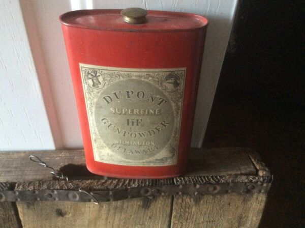 Vintage DuPont Black Powder Can Red Can Brass Top Paper Label Superfine